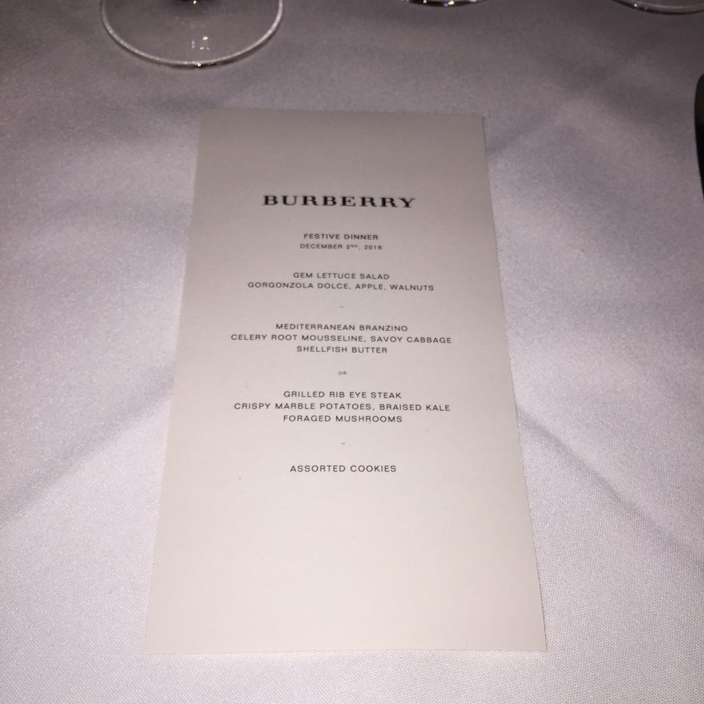 Burberry Dinner at Spruce restaurant in San Francisco.