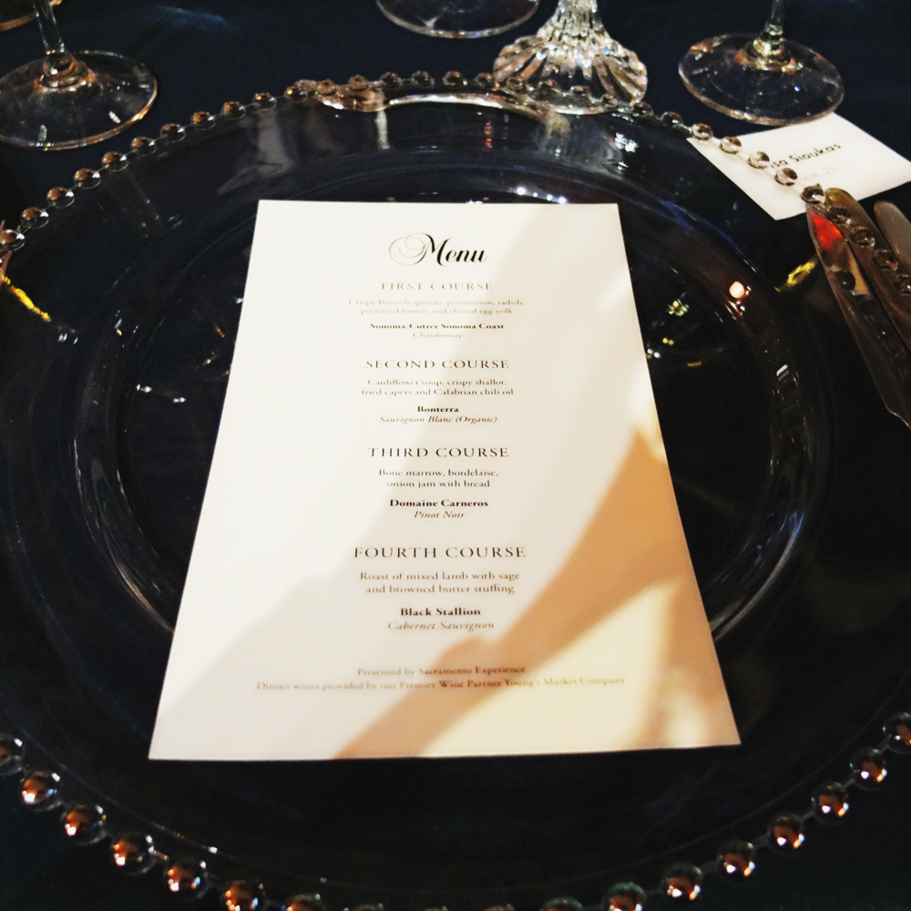 Menu at the The 54th Annual Crocker Ball