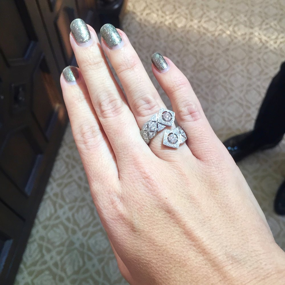 Chrisa Pappas trying on a Chanel ring