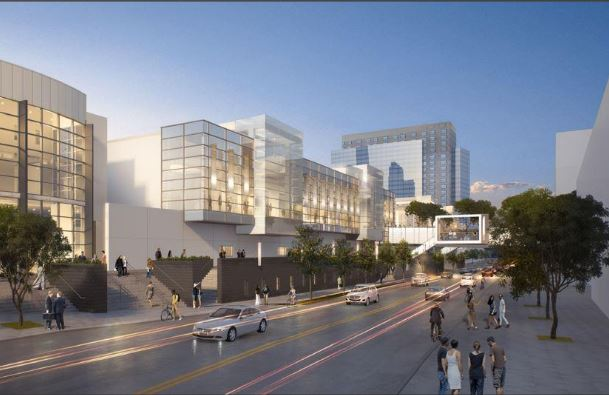 This rendering of the expanded convention center includes a frame-shaped cutout as part of a new pedestrian bridge.
