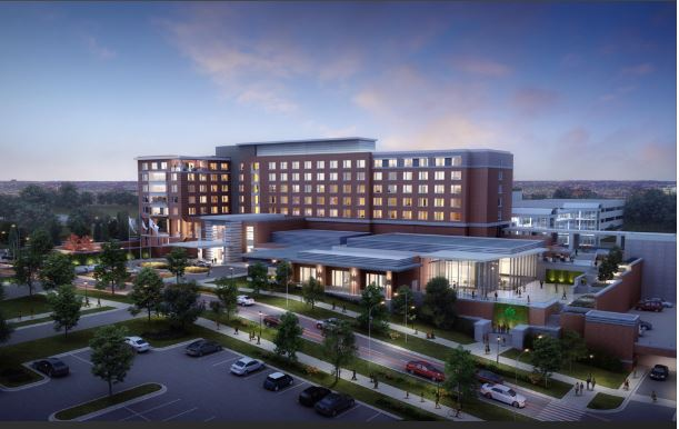 This rendering shows the planned, $84 million hotel and conference center at UNC Charlotte.