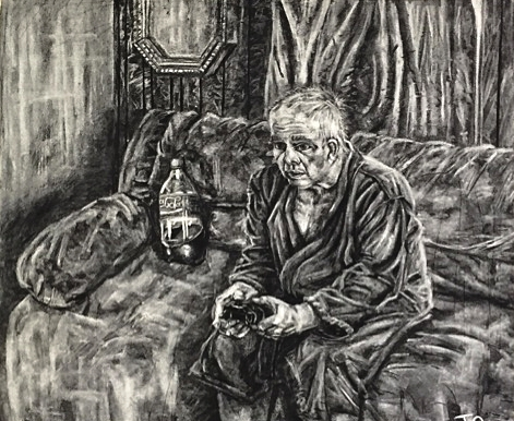GAMER, charcoal, 42 x 52 inches, 2015