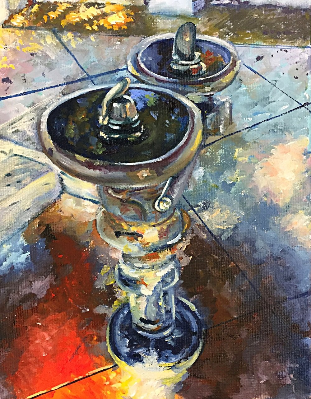 "FOUNTAIN, Oil on canvas, 8"" x 10"" inches, 2015"