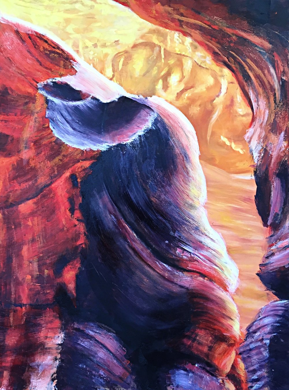 ANTELOPE CANYON, oil on canvas, 36 x 48 inches, 2016