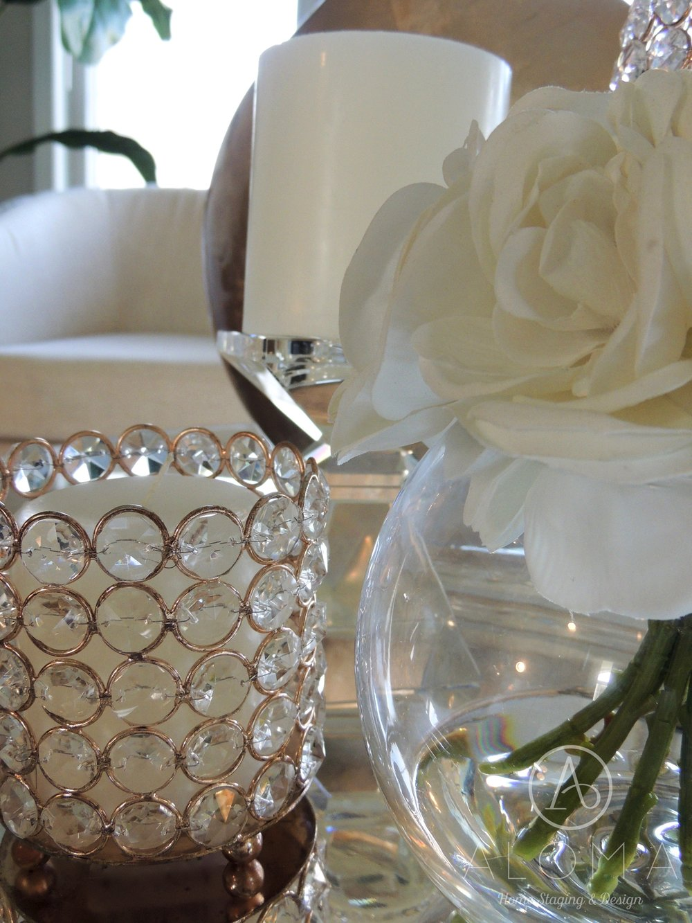 Copper and white accents in home decor by Aloma Home Staging & Design