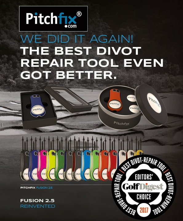 Here's a beautifully-made essential suitable for every golfer's bag--the best divot repair tool Pitchfix has ever produced. Available in 14 colors, the ABS handles are rubberized for a soft touch and grip, with colored aluminum trims. An integrated ball marker and pencil sharpener make this a great and stylish product.  https://www.pitchfixusa.com/ourproducts/