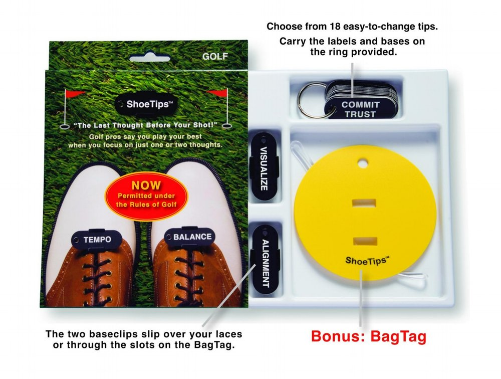 """Each Package Comes With... -  —A metal ring with 18 interchangeable swing thought labels printed on nylon.—Two 1""""x2"""" black plastic base clips that slide over your shoelaces where they cross (no need to untie your laces).—A round, yellow bonus Bagtag with a plastic loop that attaches to your golf bag—as an option to wearing ShoeTips on your shoes. —A booklet that tells the ShoeTips story and defines and categorizes each of the 18 swing thoughts into 3 groups: Focus, Feel, and Technique.Includes simple """"how-to"""" instructions, and explains why reminders work. Review this material before using ShoeTips."""