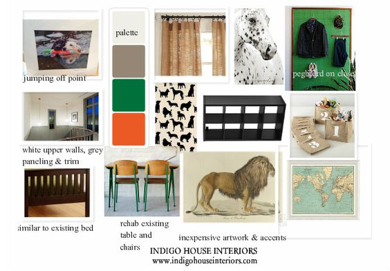 In this inspiration board  I created for my son's room, green was the accent that balanced the fun with the tame.
