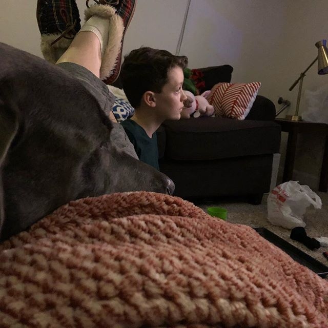Polar Express with my boy and pooch after a long day of prepping. #polarexpress #eamonboy #nellthegreatgoldendane #myindigohouse
