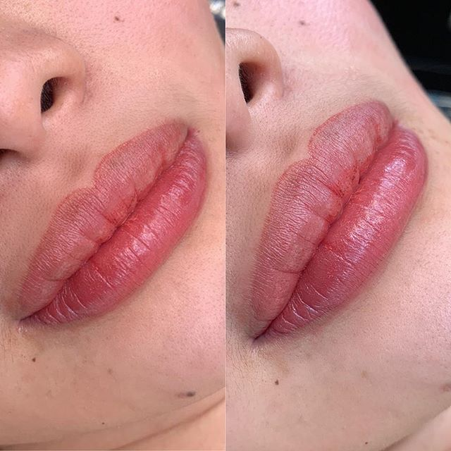 My client requested a more defined Cupid's bow and a mauve color. Swipe for the before pic 🙂 If your lips are this color or darker, please book a consultation with me before booking an appointment! . . . . . . . . #permanentmakeup #microblading #ombrebrows #combobrows #microshading #makeup #permablend #bayarea #fremont #sanjose #browsworldwide #archaddicts #brows #lips #aquarellelips #mauve #xions
