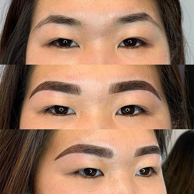 Combo brows . . . . . . . . #permanentmakeup #microblading #ombrebrows #combobrows #microshading #makeup #permablend #bayarea #fremont #sanjose #browsworldwide #archaddicts #brows