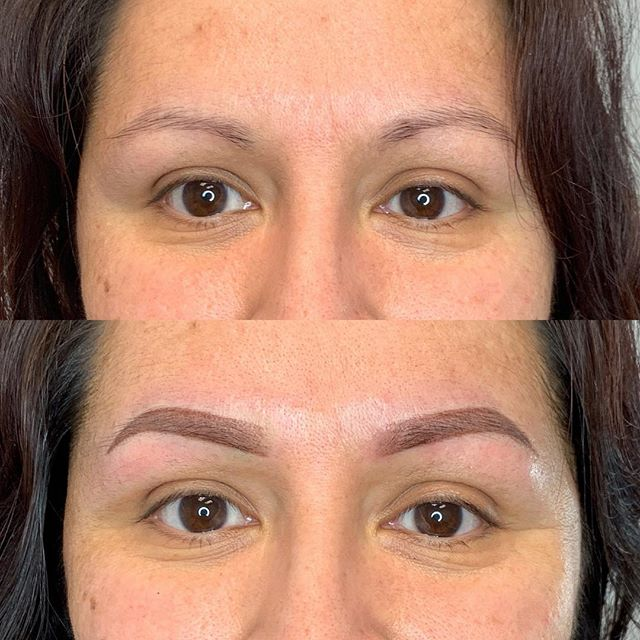 Kept it soft and light because she usually does not draw in her brows . . . . . . . . #permanentmakeup #microblading #ombrebrows #combobrows #microshading #makeup #permablend #bayarea #fremont #sanjose #browsworldwide #archaddicts #brows
