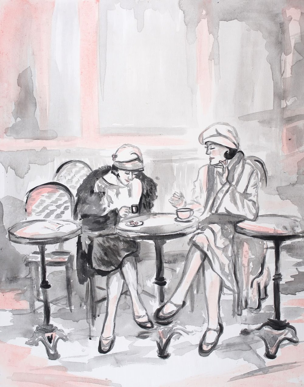 sincerely ashley | jasmine wisz painting-french cafe