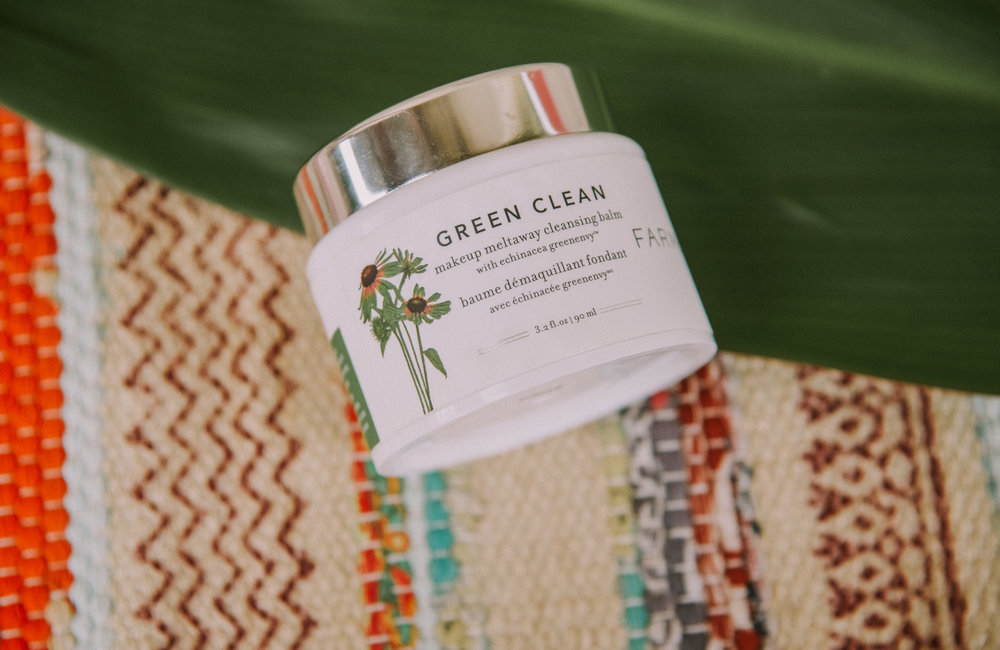 Green Clean | Makeup Remover - This is my new love. I have tried other makeup removers and weren't super happy with them...they would either leave my face feeling raw or wouldn't get the job done. Farmacy's Green Clean is dreamy. It flexes it's makeup removing muscle but is light, creamy, and smells amazing. It also tackles the unseen items that clog our skin from pollution to bacteria. I think what happens when you apply it is the best magic trick. What starts as a light mint balm quickly turns into an oil which then ends up in a more milky lather. VITALS: * Utilizes sunflower and ginger root oil to remove stubborn makeup along with Papain which is a natural enzyme found in papaya which exfoliates and retextures skin• The yummy smell and texture come from a blend of essential oils: lime, bergamot, and orange