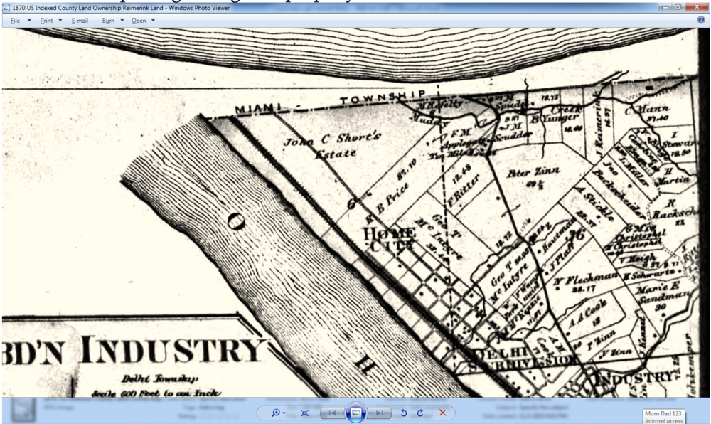 "1870 Record showing property now belonging to Johanne Reimerink, lists the Muddy Creek where Francicus Kueper drowned.  Under the words ""Miami Township"" follow it down to the word ""Muddy"" and look right 4 properties to the right is J. Reimerink with the creek passing through the property."