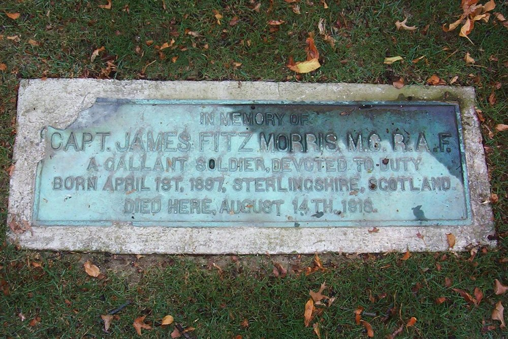 """Plaque at the Western Hills Country Club that reads """"In memory of Capt. James Fitzmorris M.C. R.A.F. A gallant soldier devoted to duty. Born April 1st, 1897 Sterlingshire, Scotland. Died here, August 14th, 1918."""