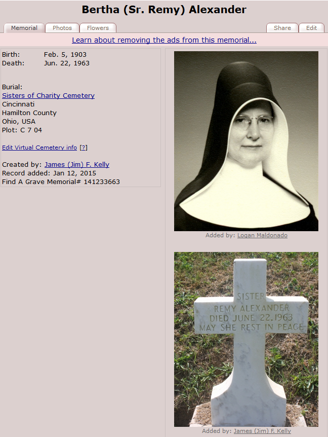 Findagrave record for S. Remy Alexander