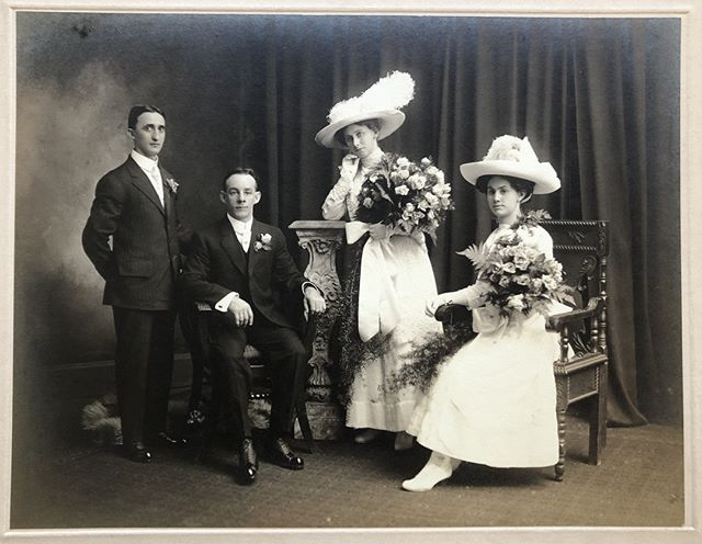 #TBT 11-27-1912 👰🏻 🤵 Charles and Carrie Witterstaetter's wedding photo featuring their witnesses, Fred and Tillie (Witterstaetter) Klein. Look at those bouquets! Its no surprise this family was a greenhouse family in Delhi.