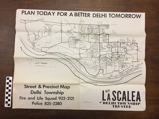 This week's #whatisitwednesday was a map of Delhi Township circa late 1970s & 80s. It features a political ad for Nick LaScalea who was a township trustee for 24 years.