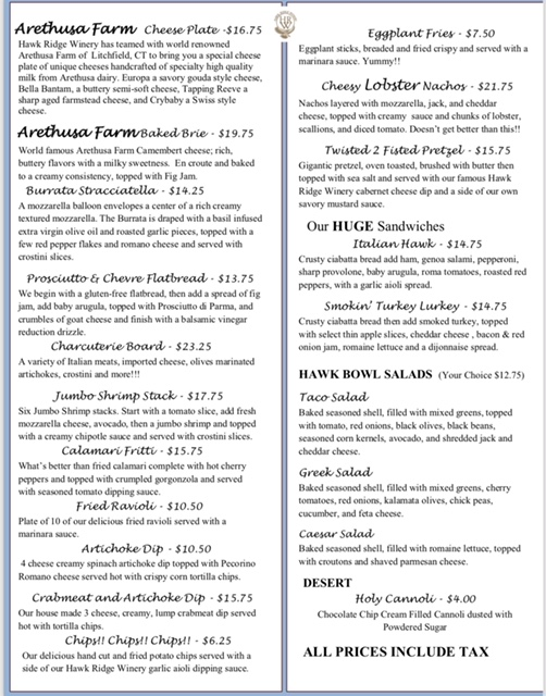 Menu  Food is served Thursday afternoon, Friday, Saturday and Sunday!  *If you have food allergies please let our tasting room associates know*