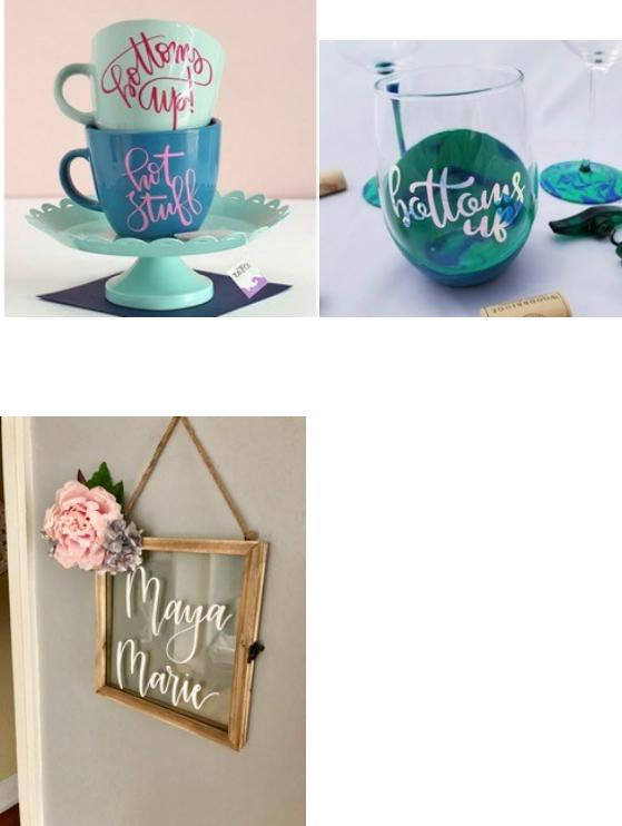 Personalized Wine Glasses, Tumblers + Mugs ( $15 - $35)   ~ Multiple colors + sizes available  ~ Pricing will depend on size + amount of words  ~ Pre-order is  NOT  necessary    Baby Name Sign with flowers ( $70)   ~ Choice of flower colors  **Pre-order  NECESSARY *