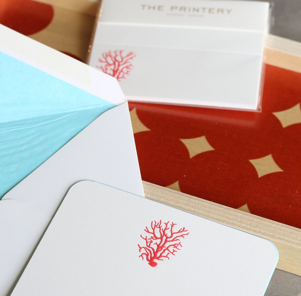 The Printery   Celebrated purveyors of fine hand-engraved stationery, The Printery operates out of a landmark 1899 building in Oyster Bay, New York. Their paper goods make perfect hostess or party gifts.