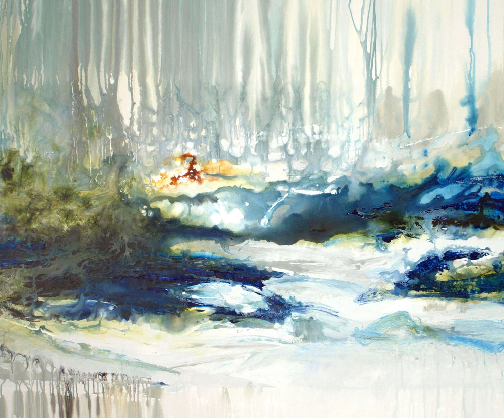 aquatic allure in jewel tones - 46x56 - sold