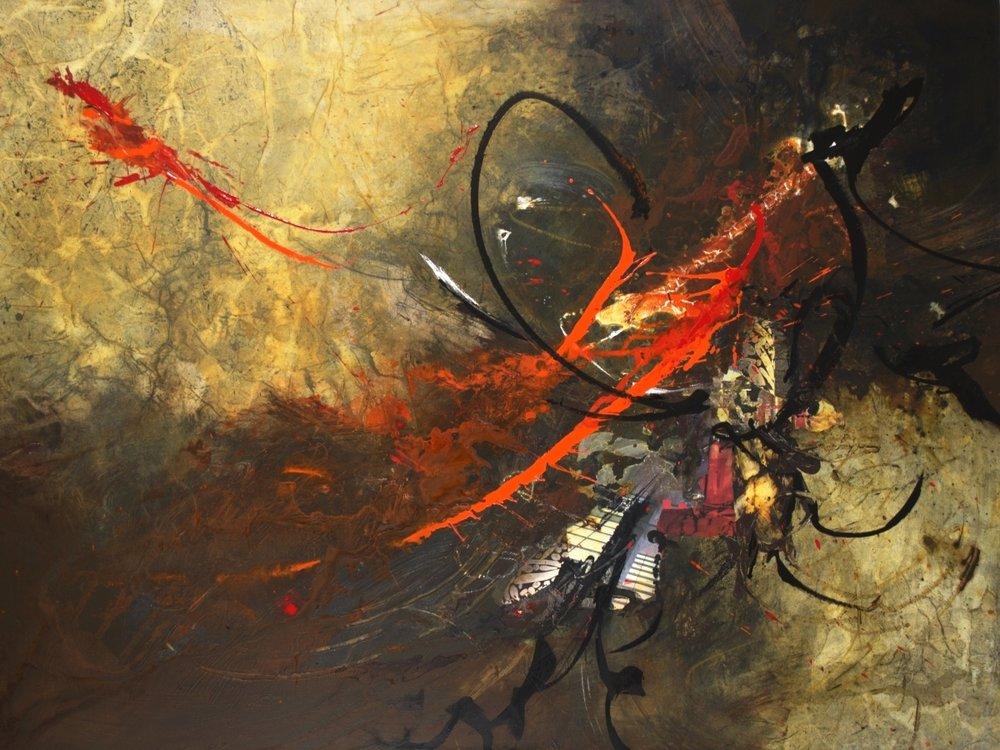 Precipice III with Red & Orange - 36 x 48