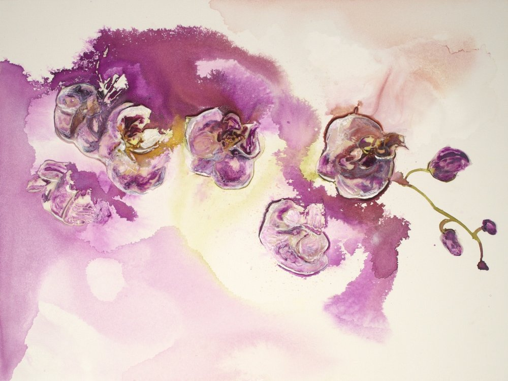 Purple Orchids at Dawn - 24 x 18
