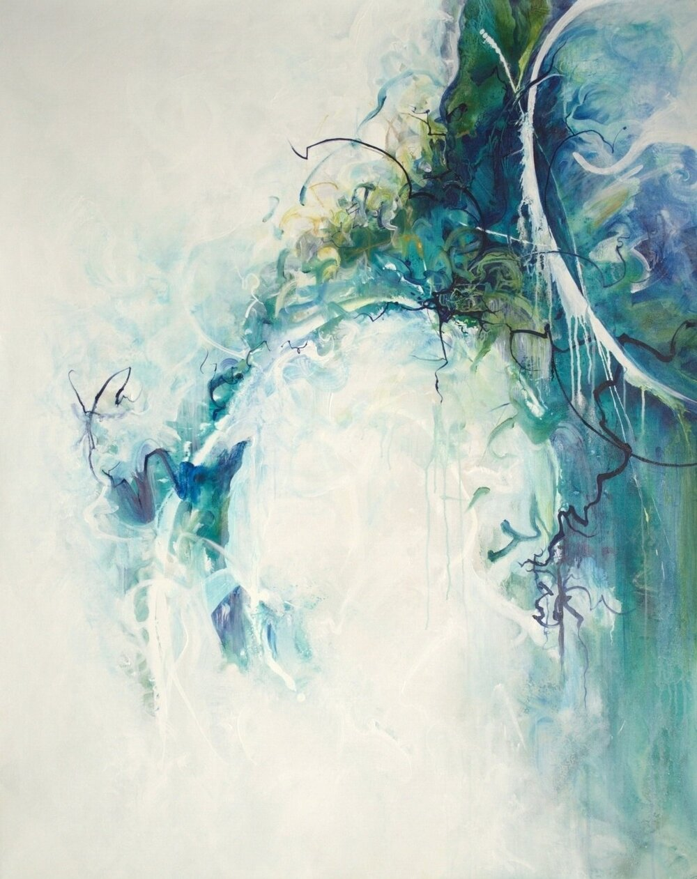 enchanted forest in blues - 56x44 - available