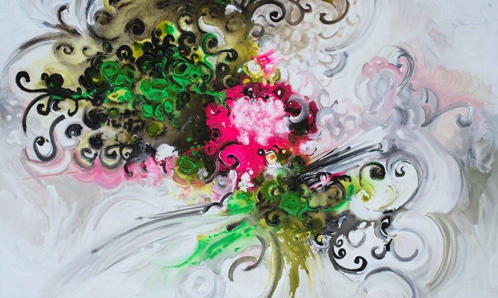 Neon Blooming II - 60 x 36