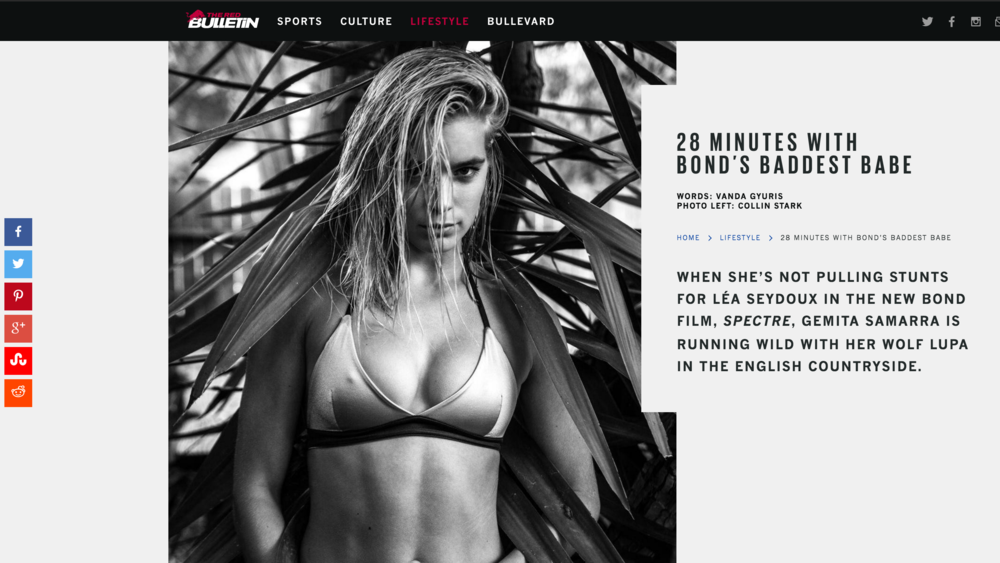 Red Bulletin '28 minutes with Bond's baddest babe'  https://www.redbulletin.com/us/us/lifestyle/28-minutes-with-bonds-baddest-babe