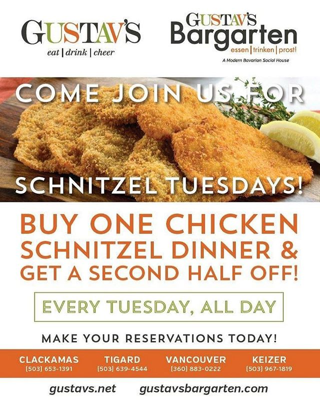 Every Tuesday is #Schnitzel Tuesday! Buy one #chicken schnitzel dinner and get a second half off every Tuesday, all day (dine in only). Call us now to book your table! See you Tuesday! #gustavspub
