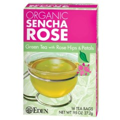 Sencha Rose from Eden Foods, to be celebrated for also being a pioneer of BPA-free cans. Other flavors of tea also aren't problematic.