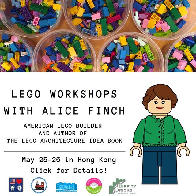 LEGO Workshops in Hong Kong happening soon!  Lego Fans-Articulating Building Structures S/S May 25-26 4-6 Women Builders- Lego fro All! Sat, May 25 1-3 Children and Parents-Family Bonding with Creativity Sun, May 26 1-3  #legoarchitectureideabook  #womensbrickinitiative #wafol