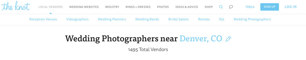 1495 Wedding Photographers are listed on The Knot's search page just for Denver, CO.