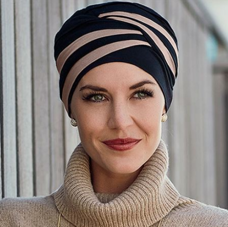 SHANTI TURBAN by Christine Headwear  is a stylish two-color combination of modern elegance and smart fashion.
