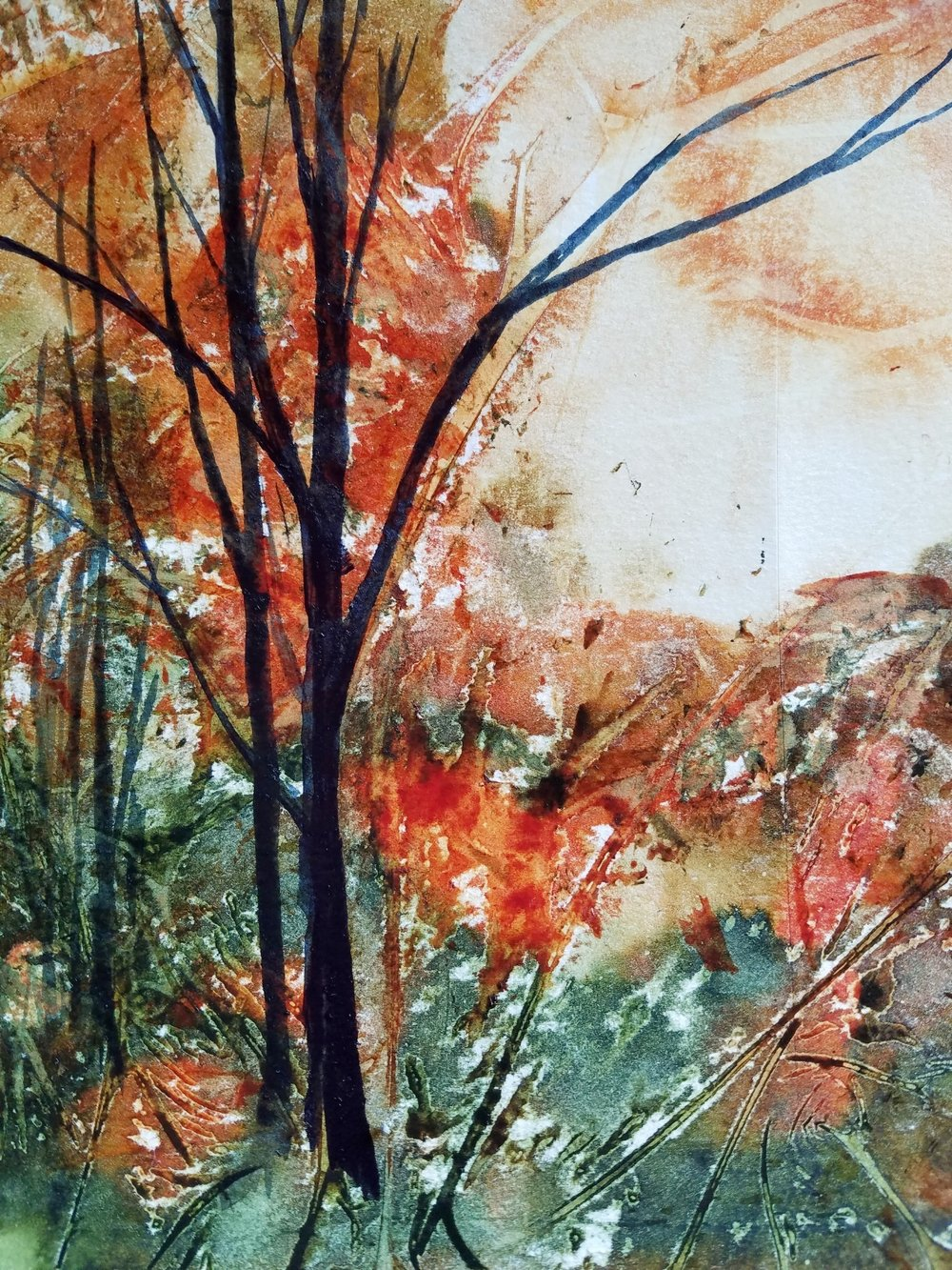 acrylic trees on bristol paper abstract background