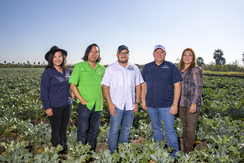 From left to right.  Lois Kim VP Public Relations/On-Farm Research, Isaac Kim COO, Anwar Garza VP Marketing/Field Operations, Marcelino  Garza CEO, Patricia  Garza CFO