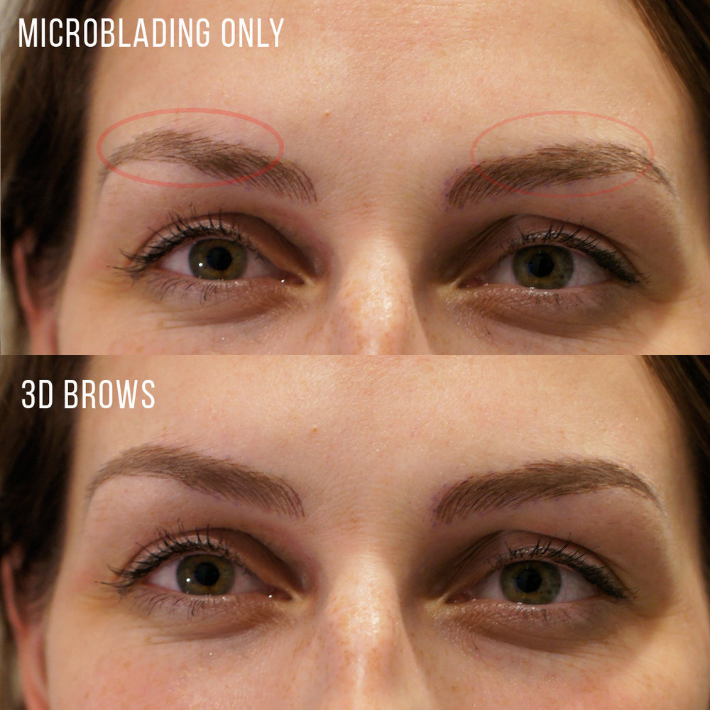 eyebrow microblading vs tattoo. clients who select the 3d shading procedure to enhance microblading often do not require a touch up appointment. eyebrow vs tattoo