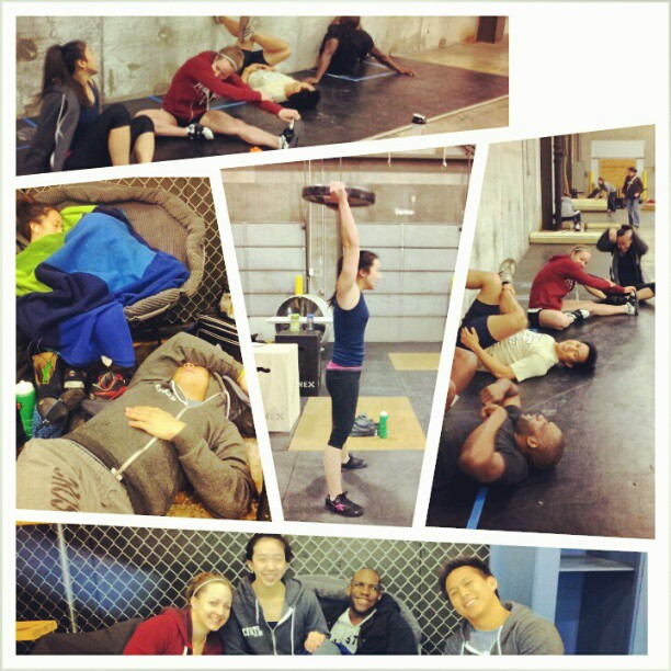 Team naps and stretching are essential to great performances
