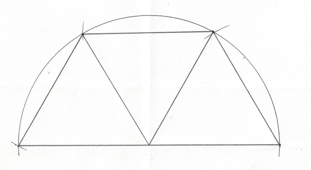 3 EQUILATERAL TRIANGLES FIT INTO HALF A CIRCLE