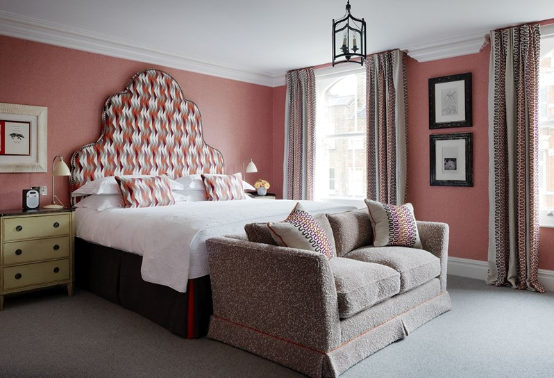 upon our glimpse around the at charlotte street hotel it was clear that no two rooms are alike each fabric finds a unique application in a
