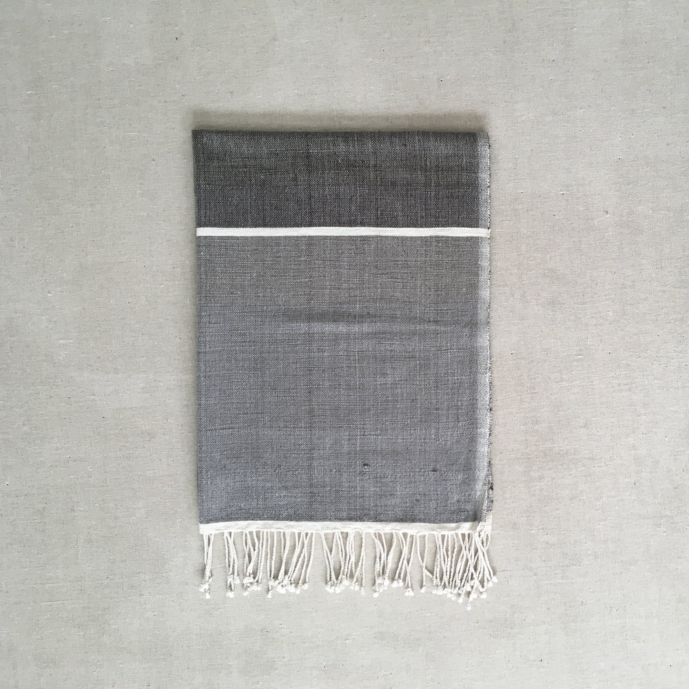Blocked Hand Towel - Grey
