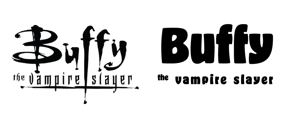 Left: Buffy logotype designed by Margo Chase. Right: Buffy written in Hobeaux by OH no Type Co.