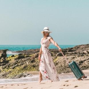 Collette Stohler walking on the beach