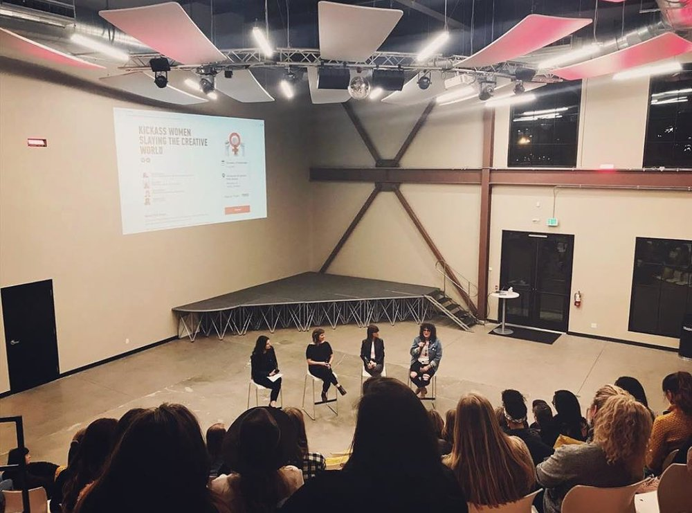 Photo courtesy of Madison Cleo. In the photo from left to right: Haylee Powers - CEO & Creative Director of  Bad Bitch Branding , Rachel Whaley - Event Marketing Manager at  Ticketmaster , Luz Plaza - Founder and Curator of  FRANK Newsletter , Madison Cleo - CEO of  MadCleo .