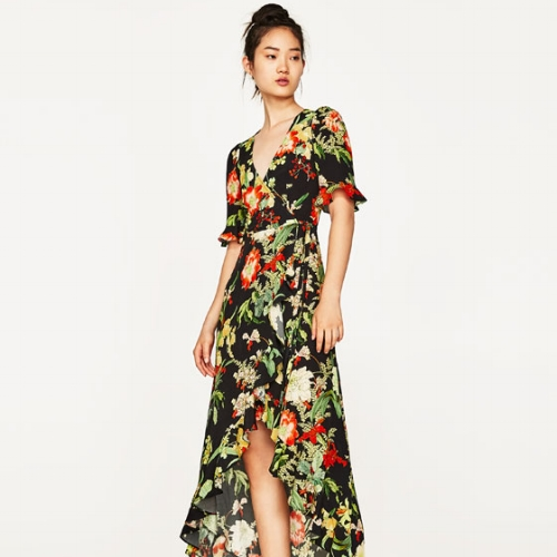 Zara Long Floral Print Dress