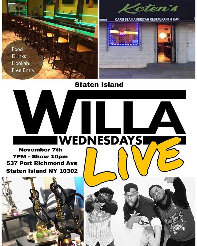 Aight Staten Island here we come!!!! We're gonna be live Wednesday Nov 7 from Kotens Resturaunt - 537 Port Richmond Ave #letsgetit #willawednesday #Podcast #comedy #lifestyleblogger