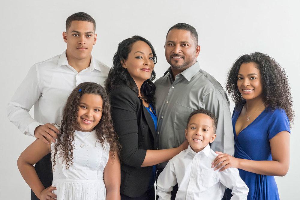 Studio portrait of attractive family